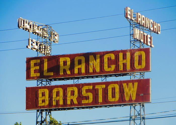 Route 66 El Rancho Motel sign Barstow California