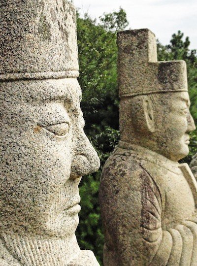 Stone soldiers guarding a 100-year old tomb-part of the ancient history in North Korea