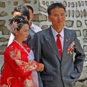 At a wedding in Kaesong, where the bride's costume reflects ancient history in North Korea