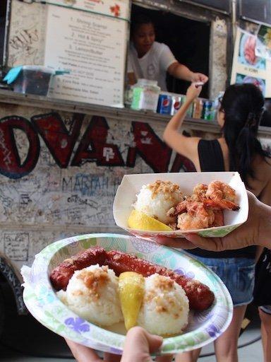 garlic shrimp and garlic hot dog with rice-Giovanni's