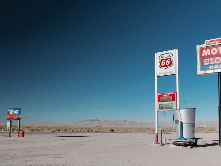 Crossing from Utah into Nevada on US Route 50 at a desolate gas station.