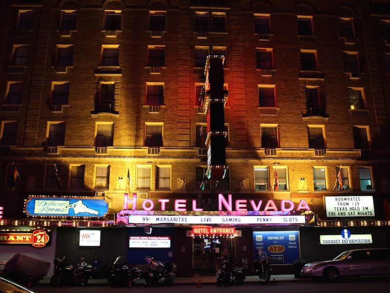 The Hotel Nevada, along Nevada's Loneliest Road in the town of Ely, remains little changed from 70 years ago.