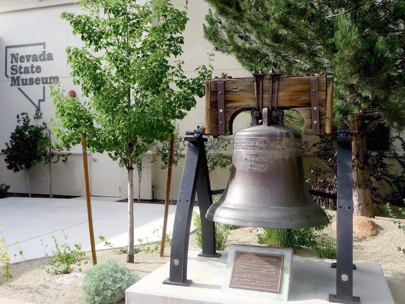 A replica of the Liberty Bell--from a 1950s US Savings Bond drive, occupies pried of place in Carson City, Nevada along the Loneliest Road