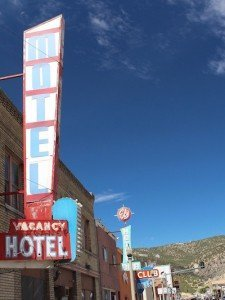 Wonderfully retro signs line the Loneliest Road as it passes through Ely, Nevada