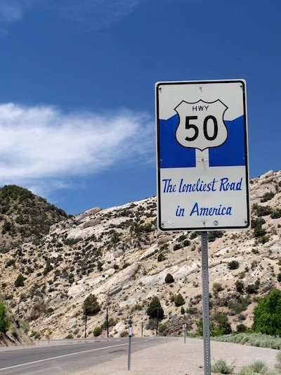 "Nevada state tourism has embraced the once-derogatory moniker of ""The Loneliest Road"" with special road signs"