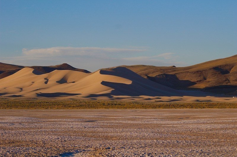 Sand Mountain, a 600-foot tall sand dune, sits alongside the Loneliest Road, just east of Fallon, Nevada.