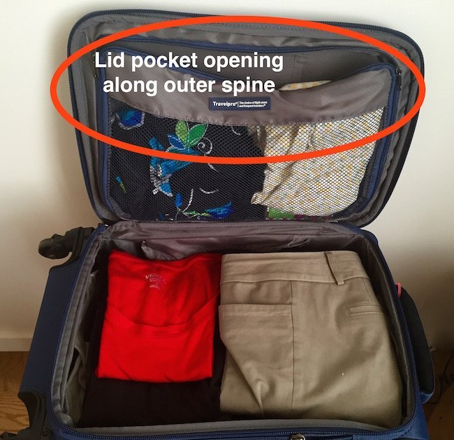 TravelPro Maxlite Spinner, interior pocket opening, Changes in Longitude