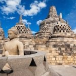 Statue and domes in yogakarta indonesia