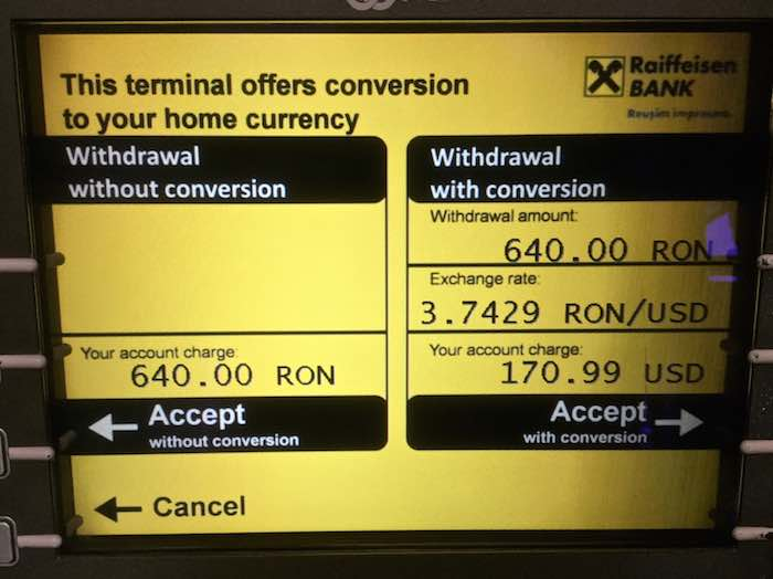 Withdrawal from an ATM without conversion is the better deal.