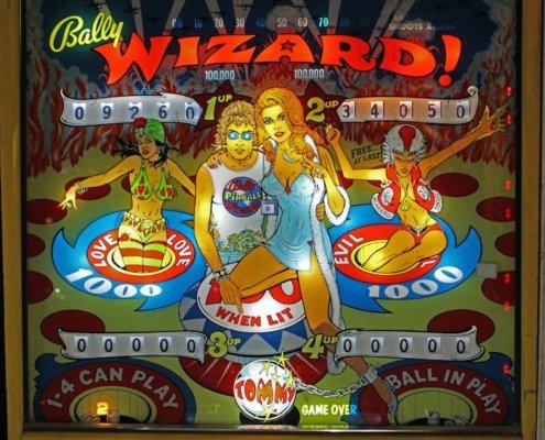 Bally Pinball Wizard backboard