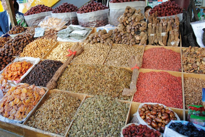 Visiting the Silk Road: Market stall with exotic spices