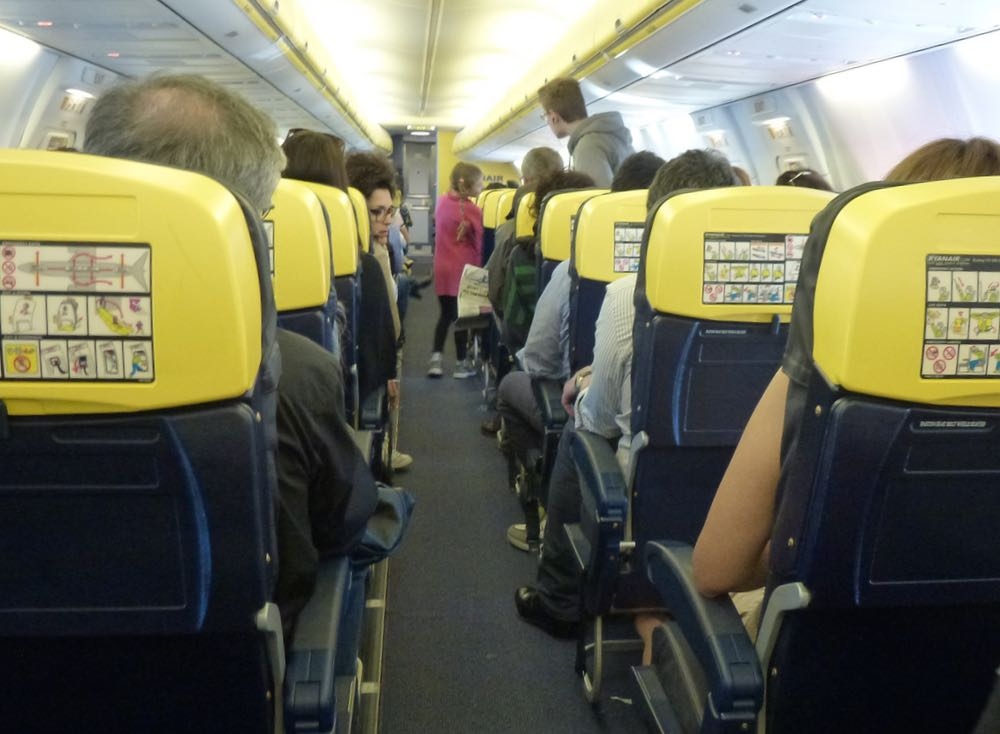 Ryanair airplane seats interior