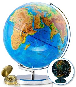World travel map and constellation globe