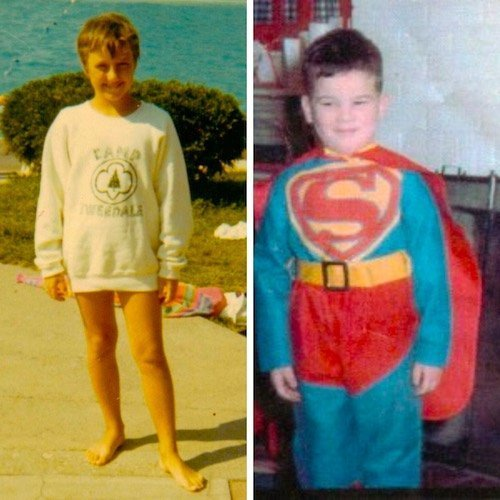 Larissa as child by pool, Michael as child in Superman costume