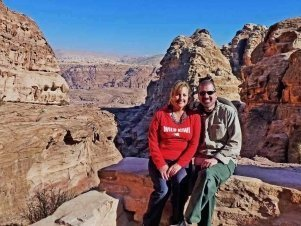 Larissa and Michael, monastery at Petra Jordan