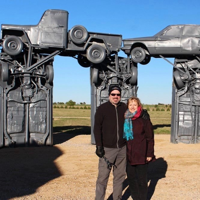 Larissa and Michael at Carhenge, Nebraska