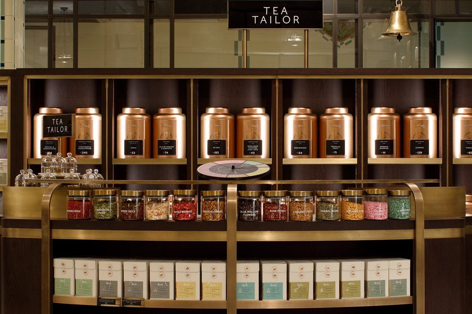 Shelves of tea at Harrods food hall