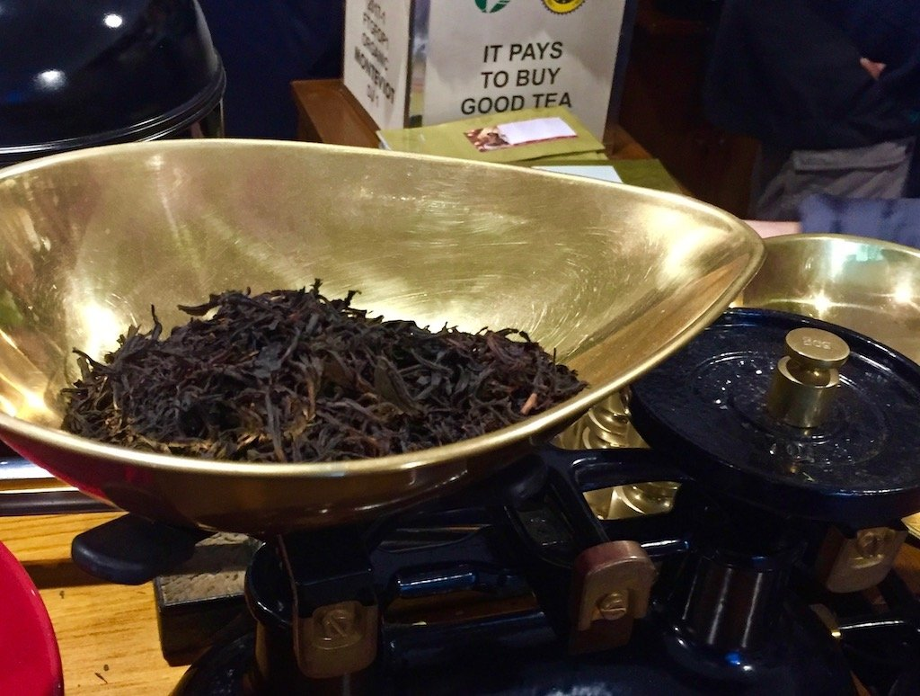 Loose tea being weighed at London Tea exchange