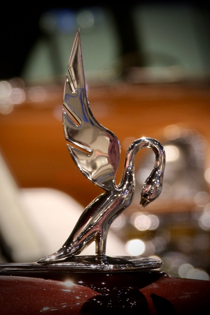 Cormorant hood ornament with wings outstretched