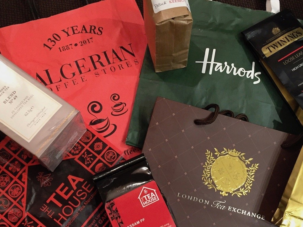 Assorted packages of tea from London shops