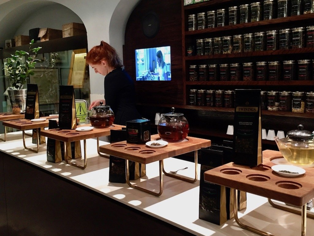 Specialty teas brewed in pots at Twinings tasting bar
