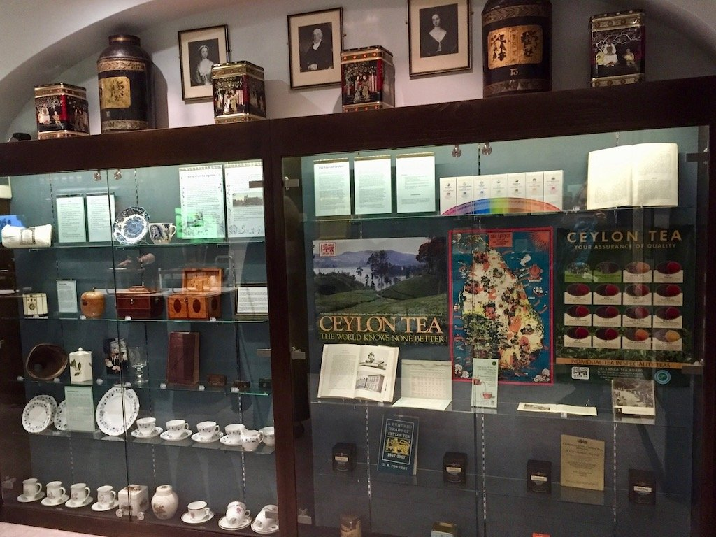 Display of historic teas and tea artifacts at Twinings exhibition
