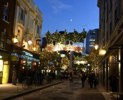 London Christmas lights-above Seven Dials shopping area