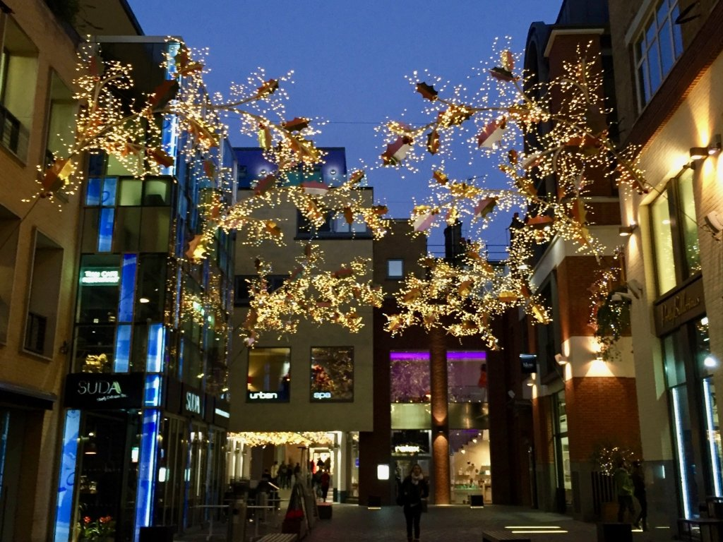 Christmas lights in a London Courtyard
