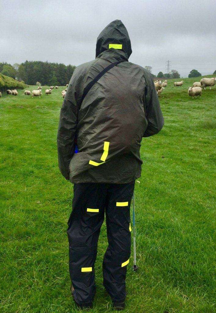 Rain hiking gear with hi-vis stripes