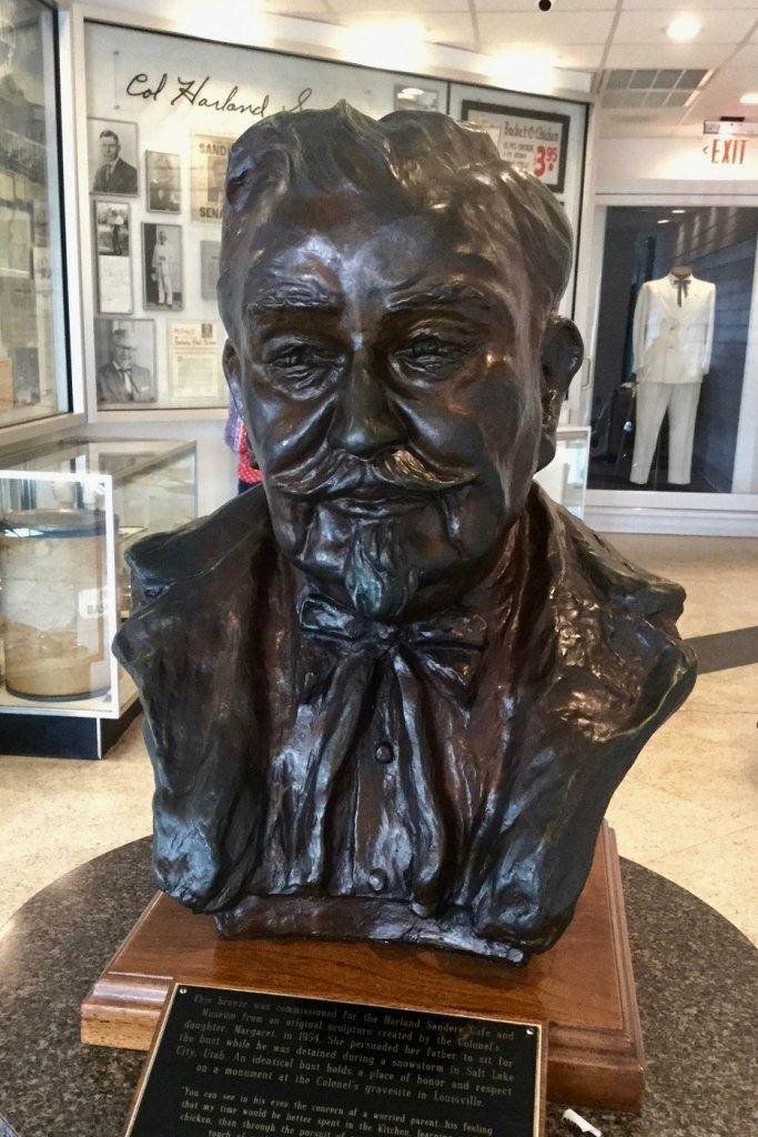 Bronze head at Sanders Museum & Cafe