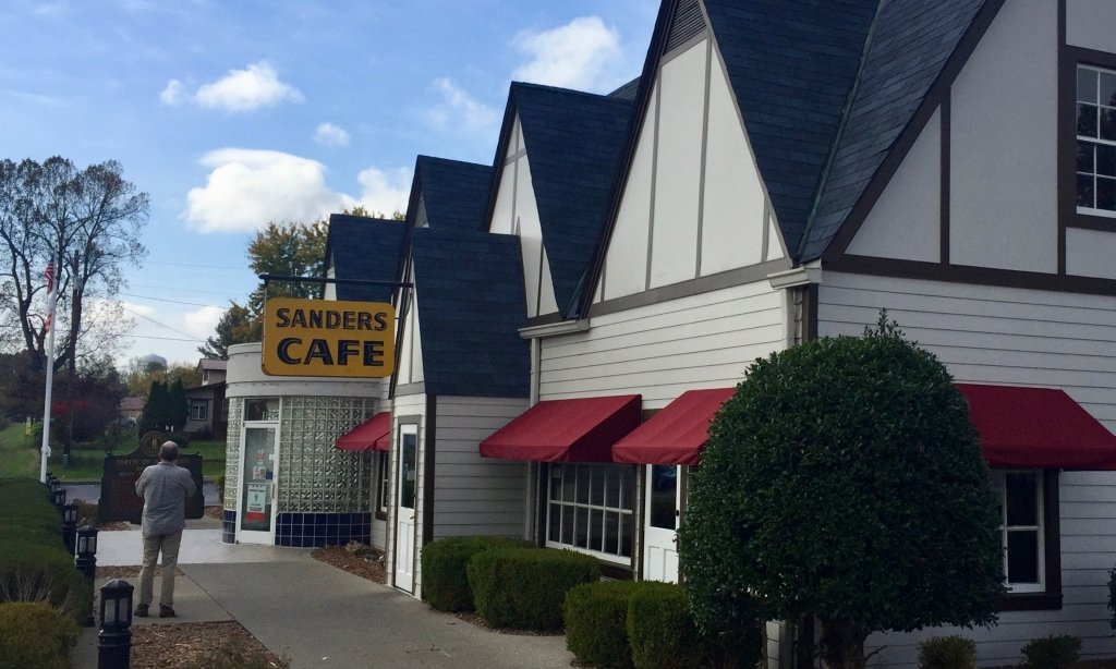 Front view of Sanders Cafe, with awnings