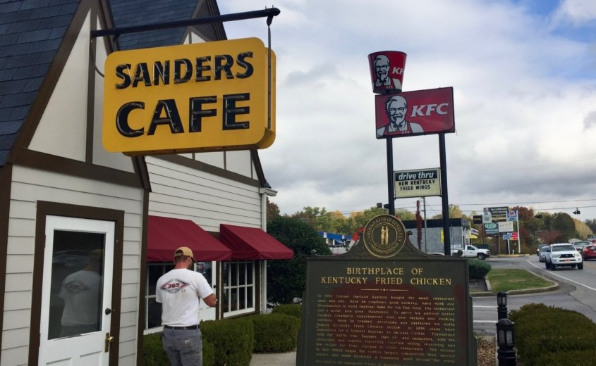Sanders Museum & Cafe with KFC sign in background