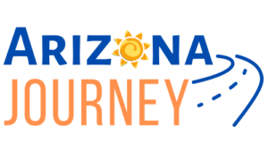 logo of Arizona Journey-blue & orange with sun