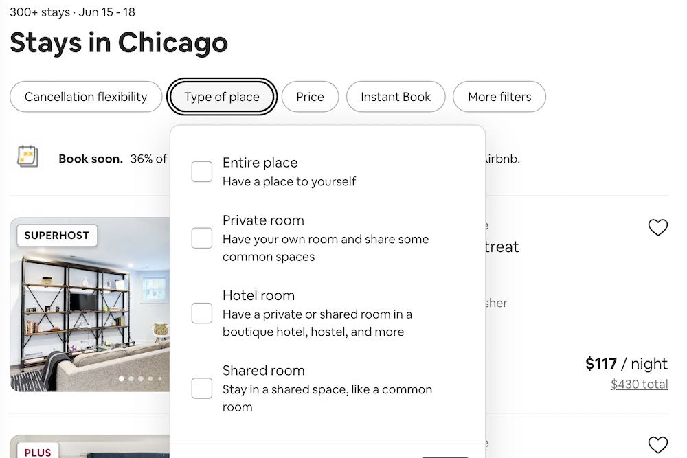 How airbnb works, a screenshot from the site showing type of place booking options.